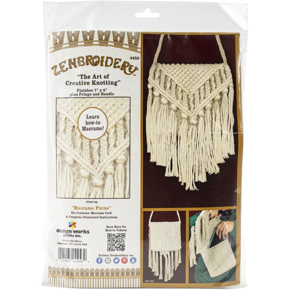 Design Works/Zenbroidery Macrame Purse Kit 7X8-