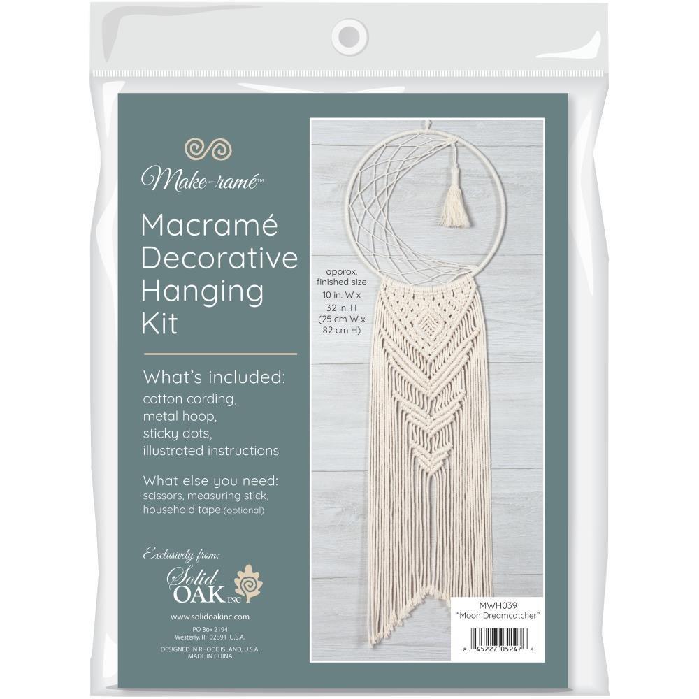 Solid Oak Macrame Hanging Kit-Moon Dreamcatcher