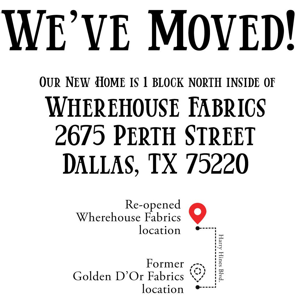 We have Moved! Visit us at our new location at 2675 Perth Street, one block north of our previous location. We are located inside Wherehouse Fabrics.