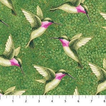Shimmer Morning Glory -- 23322M-74 Hummingbirds Med Green Multi