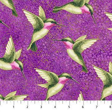 Shimmer Morning Glory -- 23322M-84 Hummingbirds Purple Multi