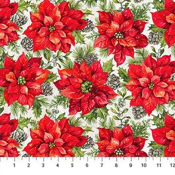 The Scarlet Feather -- 23475-91 Poinsettia Toss/Pale Gray Multi
