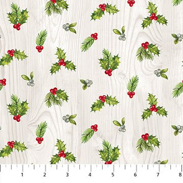 The Scarlet Feather -- 23477-91 Mini Holly Toss/Pale Gray Multi
