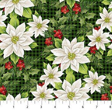 Farmhouse Christmas -- 23494-99 Poinsettia Toss Black Multi