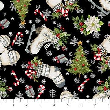 Farmhouse Christmas -- 23499-99 Large Plaid Black Multi