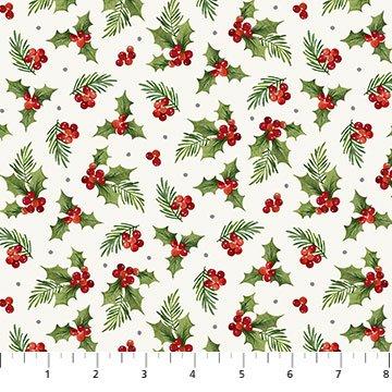 Farmhouse Christmas -- 23496-10 Holly Toss White Multi