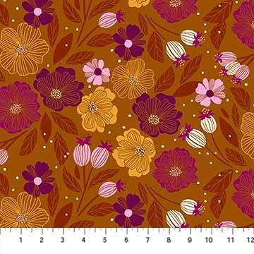 Sangria -- 90204-56 Ochre Multi Flowers