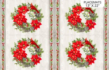 The Scarlet Feather -- DP23481-91 Placemat/Pale Gray Multi