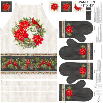 The Scarlet Feather -- DP23482-91 Apron & Mitt/Pale Gray Multi