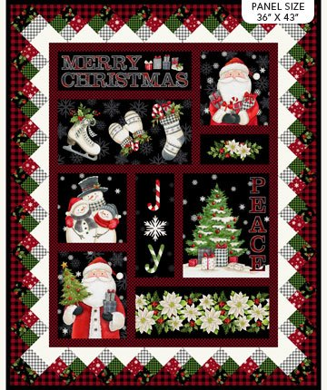 Farmhouse Christmas -- DP23493-99 Farmhouse Panel Black Multi