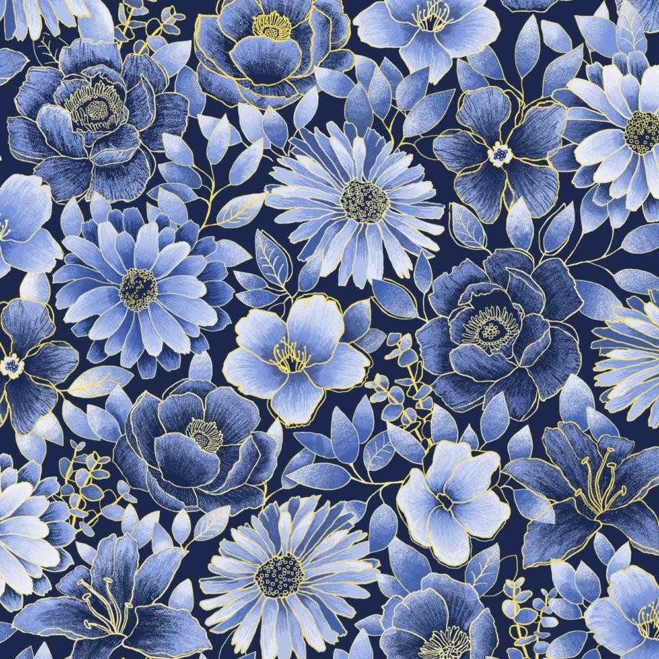 Midnight Garden -- OA6029001 Floral Blue/Yellow