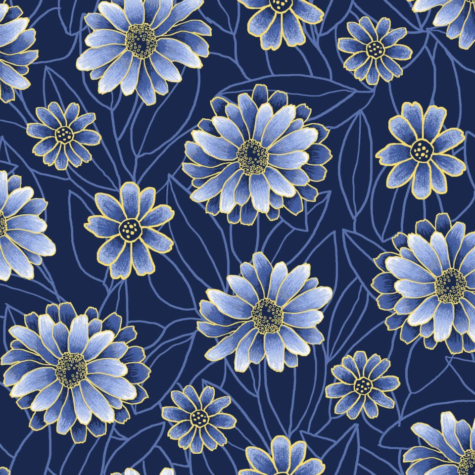 Midnight Garden -- OA6029301 Blossoms -- Dark Blue