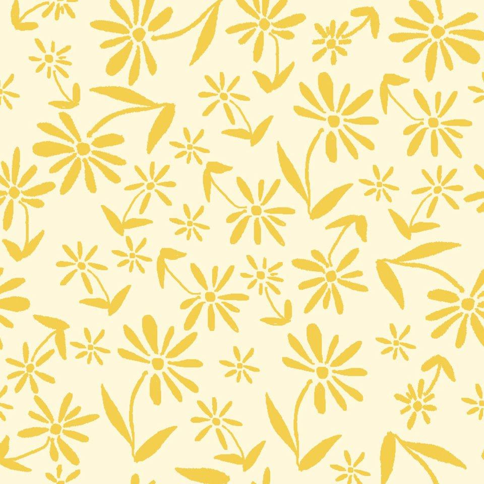 Midnight Garden -- OA6029401 Tonal Tossed Flowers -- Yellow