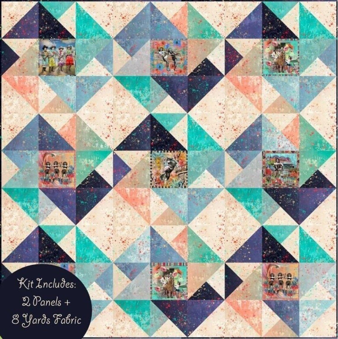 Round Up Quilt Kit with Lipstick Cowgirl Fabric