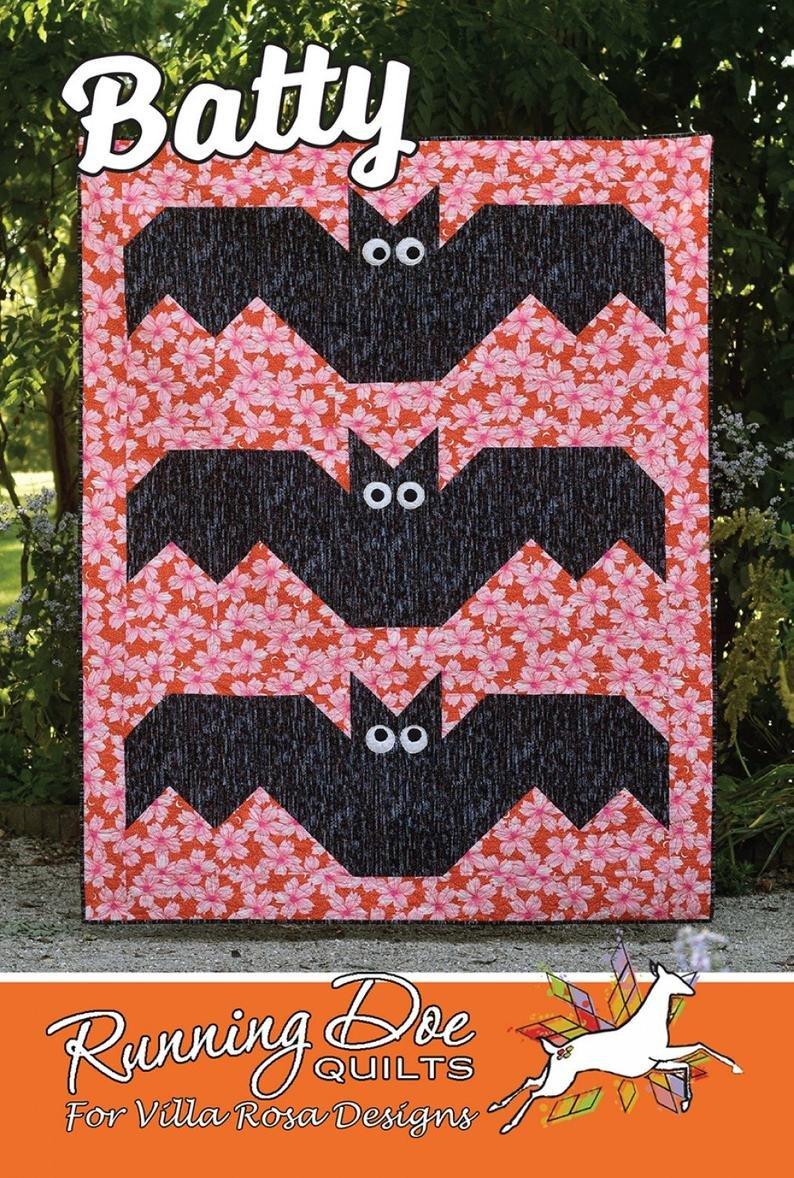 Batty Quilt Kit w/ Orange Background and Black Bats Fabric