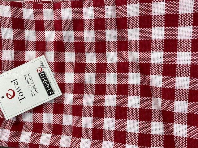 Red White Check Kitchen Towel 20 x 27