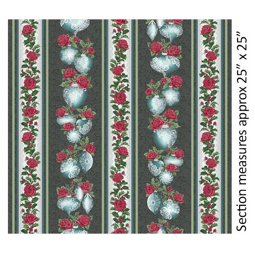 Festive Lace Stripe Char/Teal