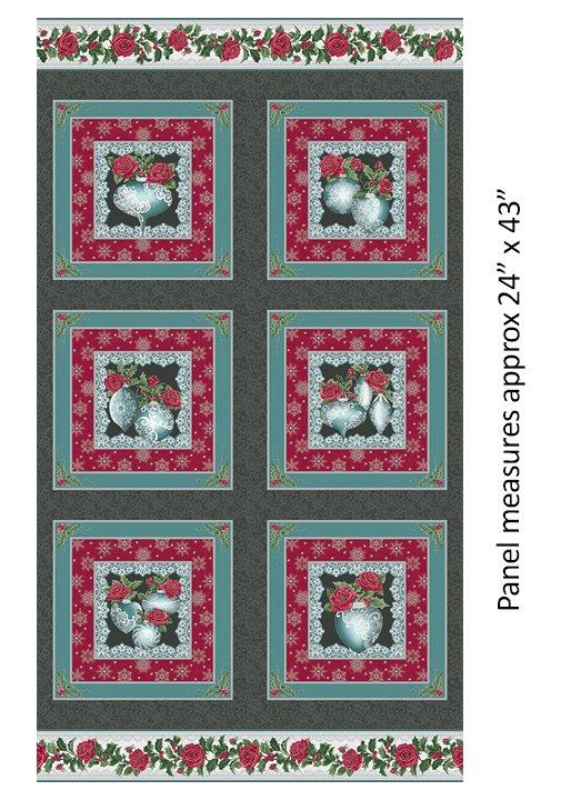 Festive Lace Ornament Pnl Char/Teal