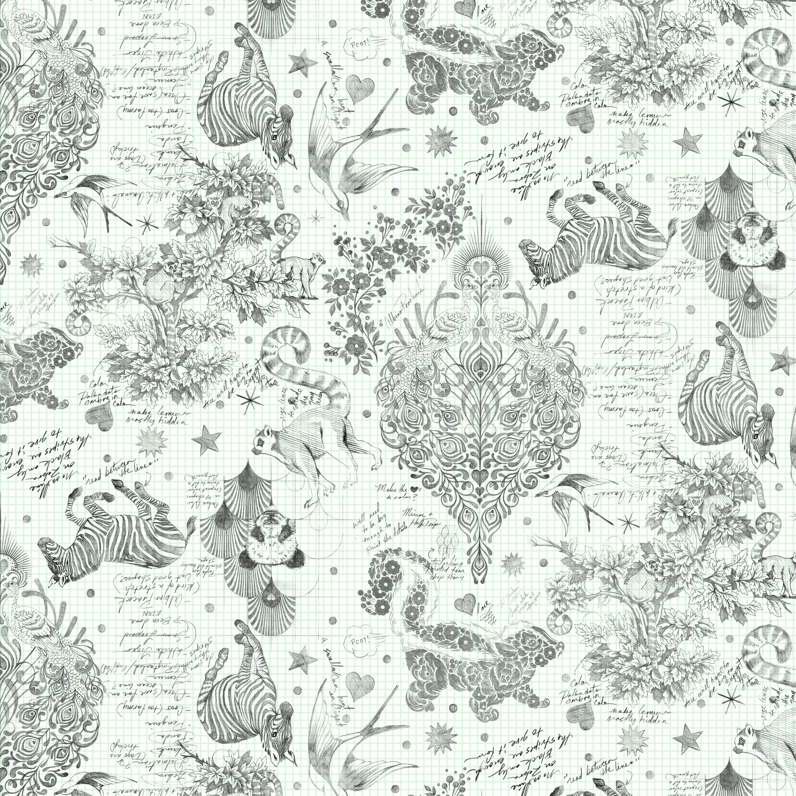 PREORDER Backing Fabric - 3 yds Sketchyer from LINEWORK