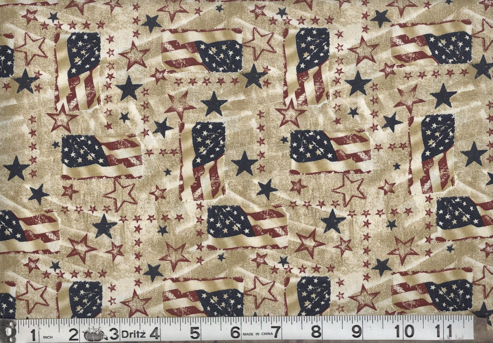 Antique Americana Flags & Stars Cream