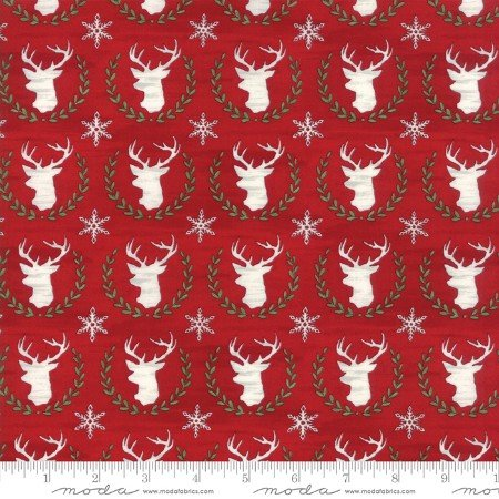 Hearthside Holiday Brushed Cotton Berry Red Deer