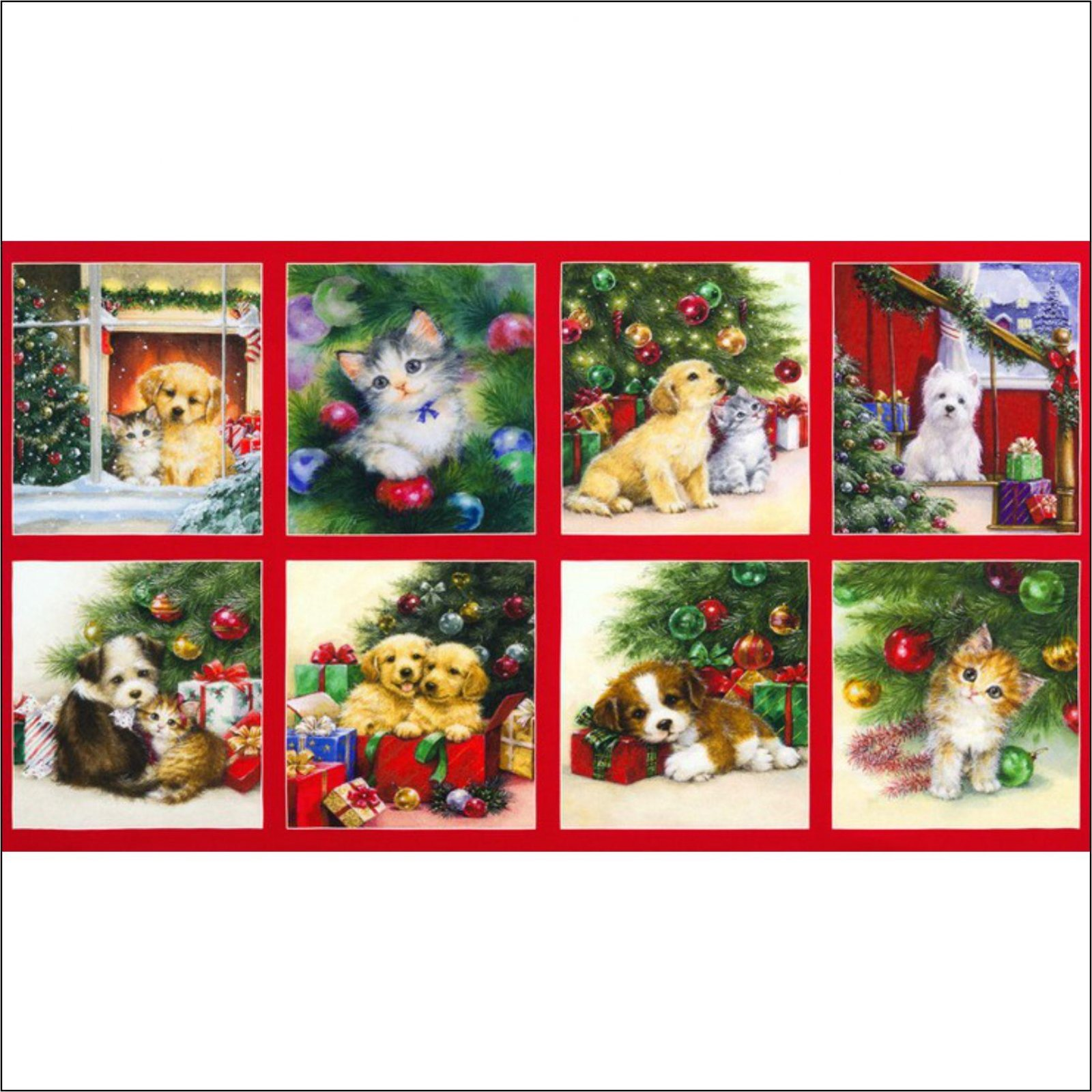 Kaufman Christmas Pets - Cat Dog Panel
