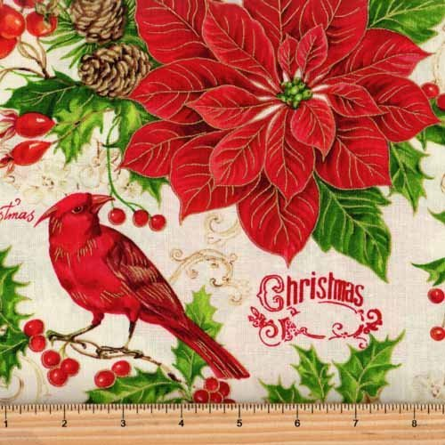 Fabri-Quilt Happy Christmas Cardinals