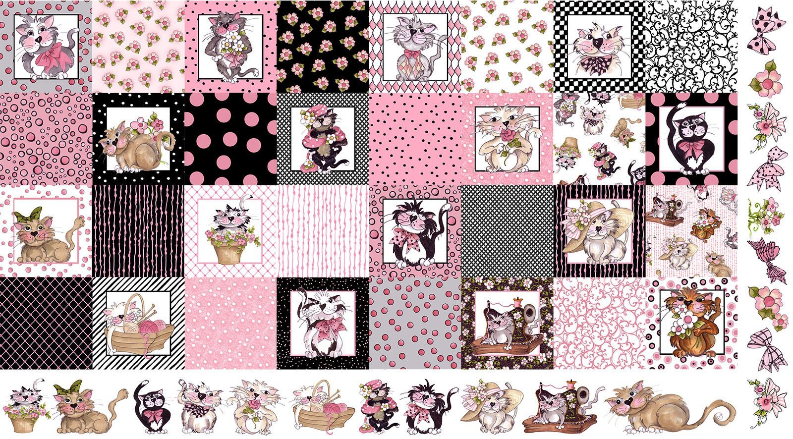 Loralie Designs Medley Fancy Cats Panel