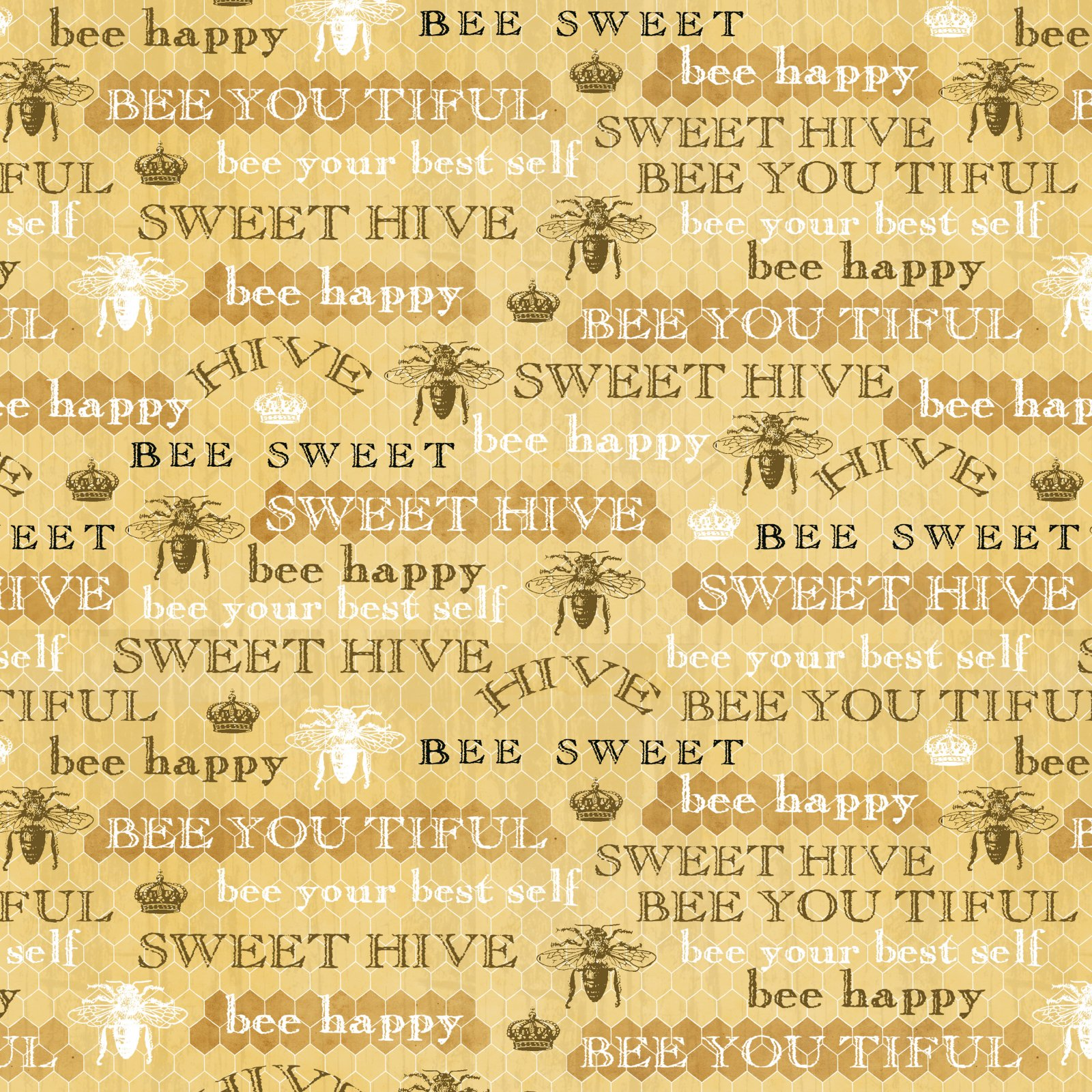 Studio E Bee Sweet Writing - Honey Words on Honeycomb Print