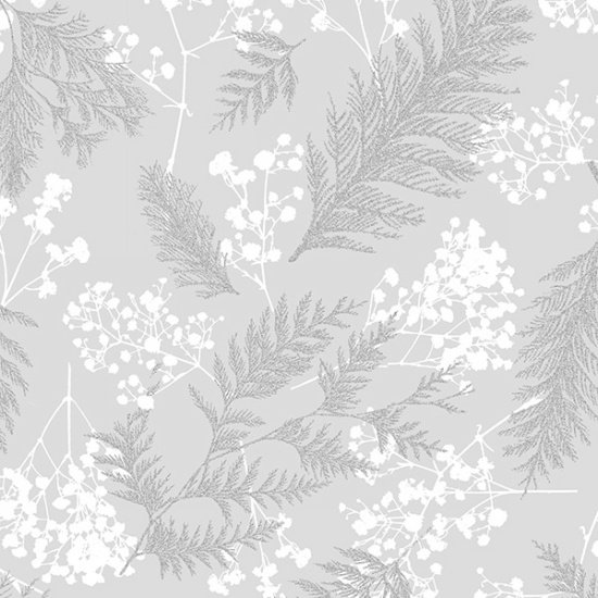 Hoffman Sparkle and Fade Ferns Gray Metallic Silver