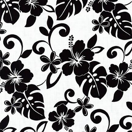 Kaufman Island Paradise Tropical Florals Black/White