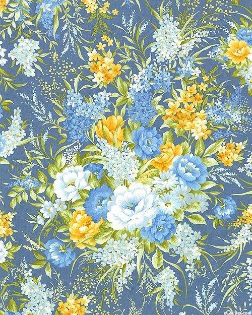 Fabri-Quilt Bristol Large Floral Blue