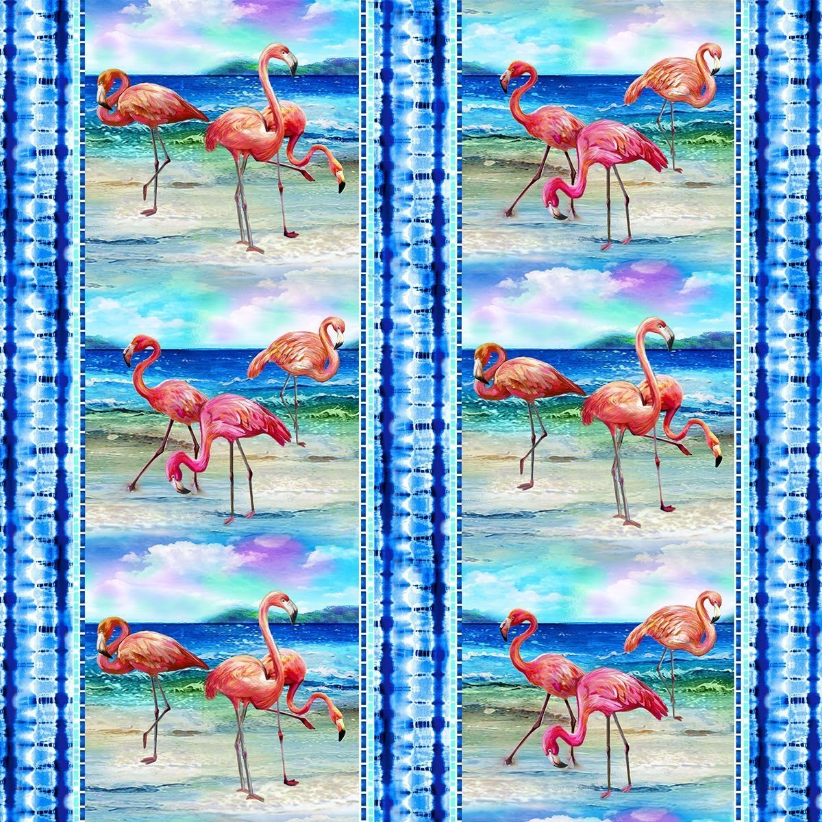 Flamingo Scenic Striped Blue