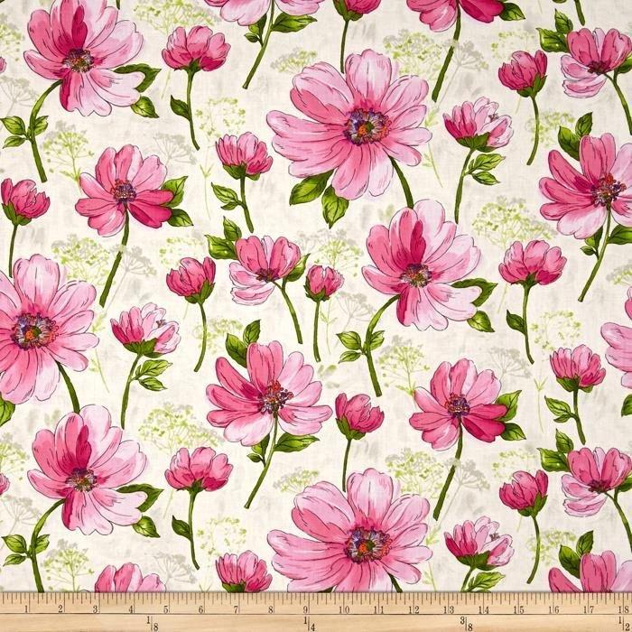 Fantasia Large Pink Floral Ecru