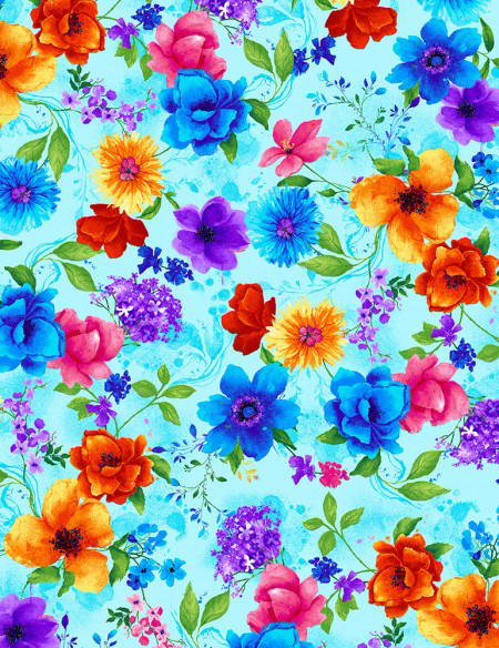Timeless Treasures Night Bloom Small Florals Aqua