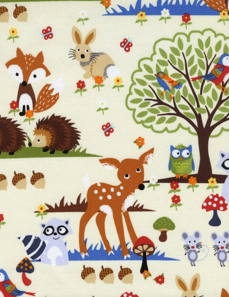 Timeless Treasures Woodland Scene Cream