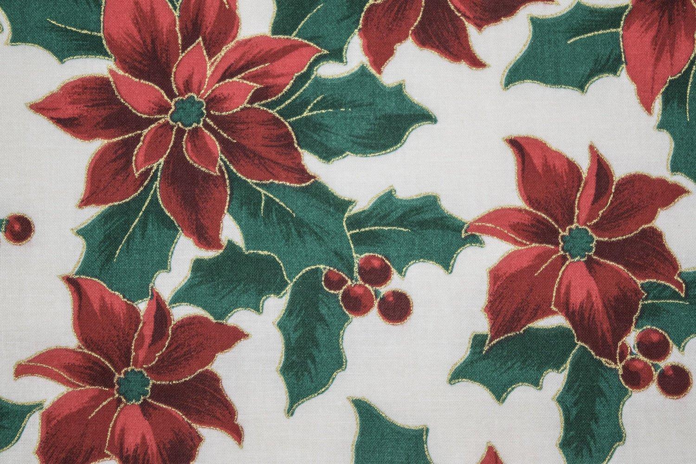 Christmas Poinsettia Cream Metallic