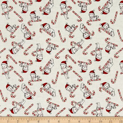 Riley Blake Designs - Kewpie Christmas Candy Cane - Cream