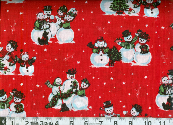 Christmas Snowman Scenic Red