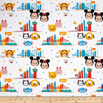 Disney Tsum Tsum Tsum Travel White Fabric