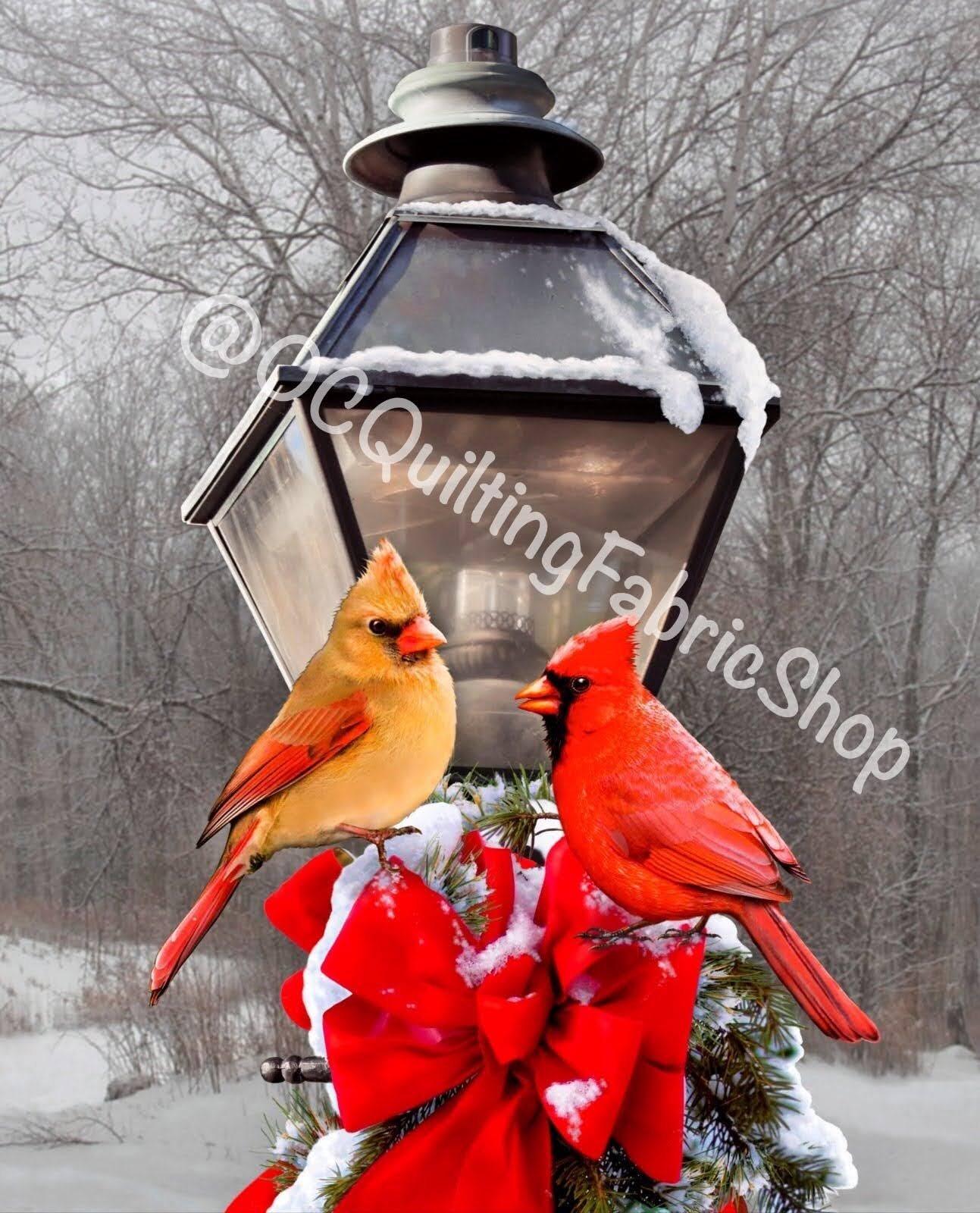 David Textiles Cardinals & the Winter Street Lamp Panel 35.5 inches