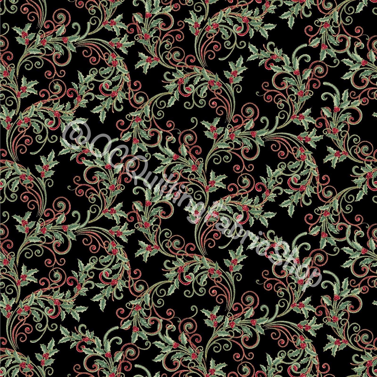 Benartex Winter Elegance Holly Scroll Black Metallic