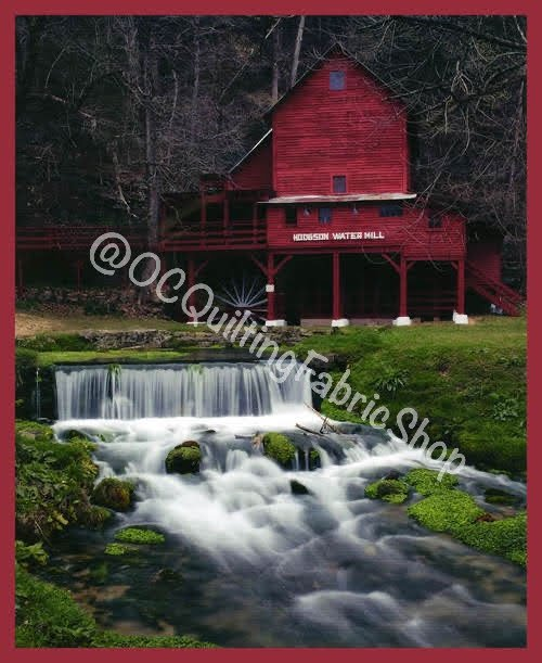 Blank Quilting Digital Watermill with Stream Red 36 inches
