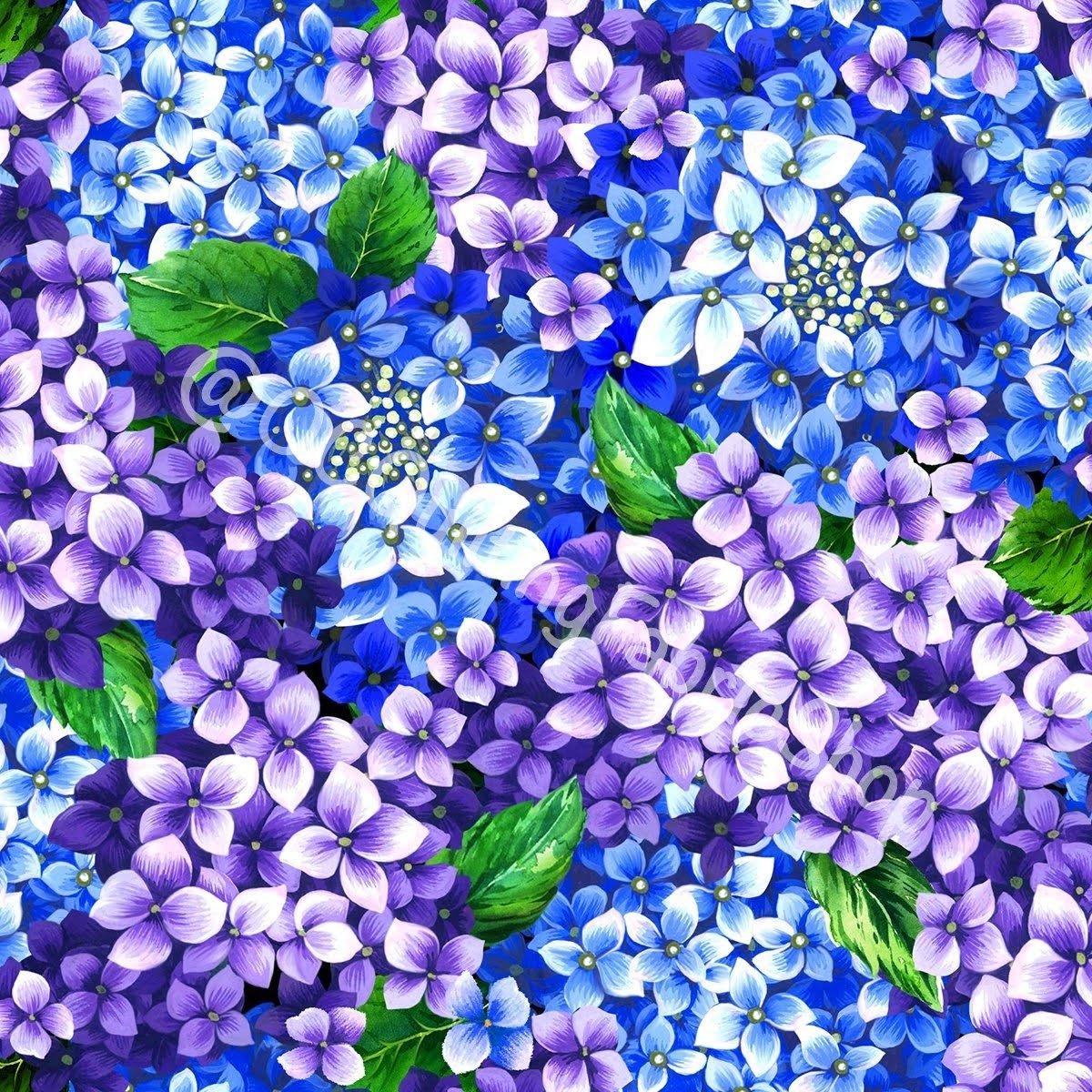 Oasis Fabrics Digital Flower Clusters Purple/Blue