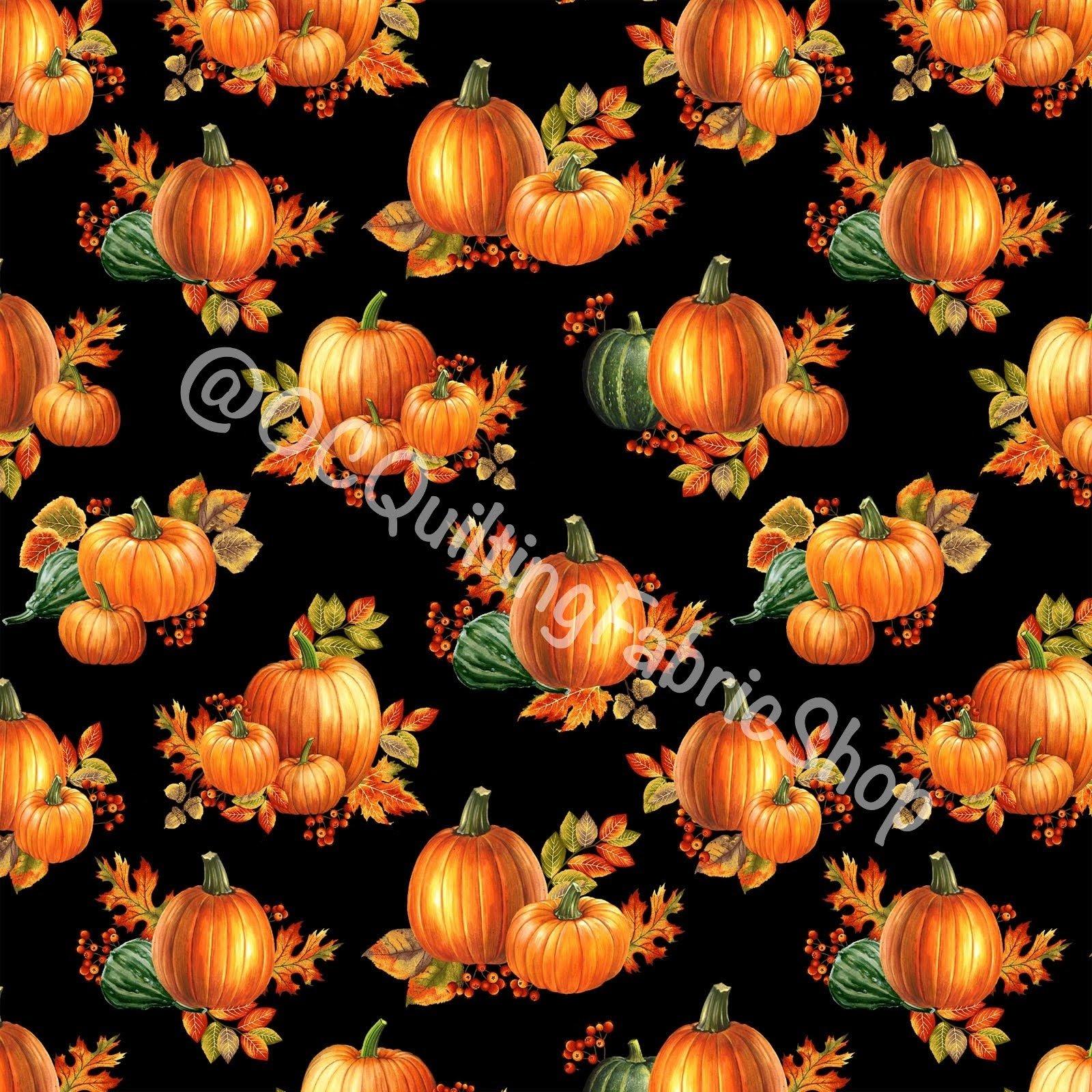 Benartex Autumn Elegance  Pumpkin Allover Black Metallic