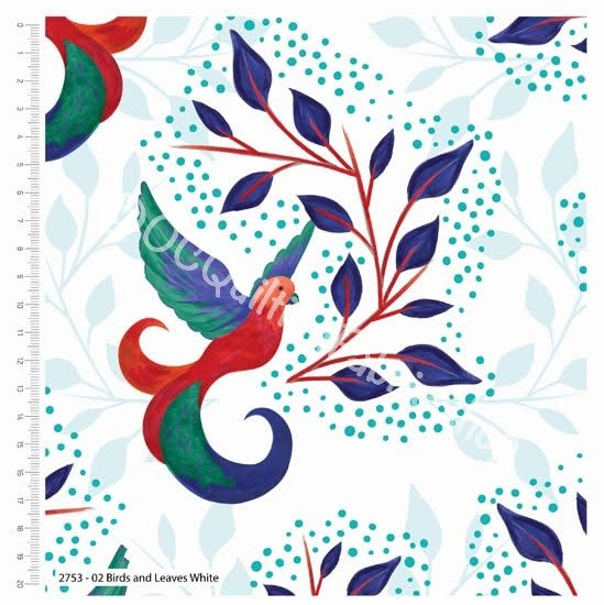 Craft Cotton Co Birds Of Paradise Birds and Leaves White