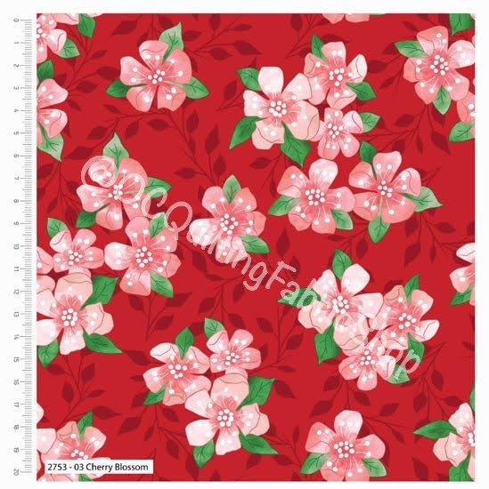 Craft Cotton Co Birds Of Paradise Cherry Blossom Red