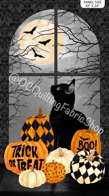 Northcott Black Cat Capers Panel 24 inches