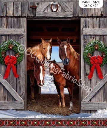 Northcott Digital  Hay...It's Christmas Horse Panel 36 inches