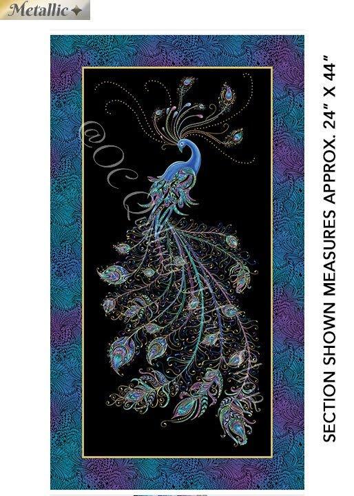 Benartex Peacock Flourish Panel Black/Multi Metallic 24 inches